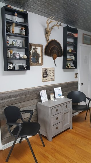 Wainscot Original Barnwood Siding, Update On The Wall Decor And Antique  Cabinet Stop In And Experience The Old Time, Traditional Barber Shop.